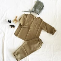 <img class='new_mark_img1' src='//img.shop-pro.jp/img/new/icons16.gif' style='border:none;display:inline;margin:0px;padding:0px;width:auto;' />BABE & TESS Long Sleeve Shirt Khaki (12m, 18m, 24m)