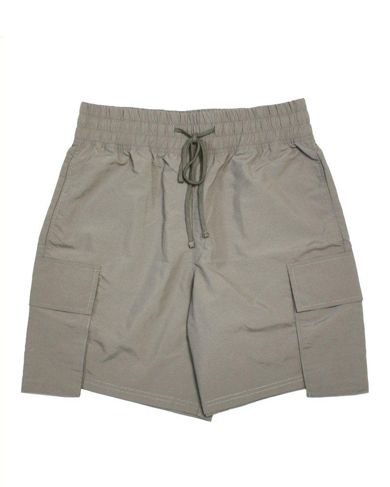 Elwood Clothing Matte Nylon Cargo Shorts - Grey Brown