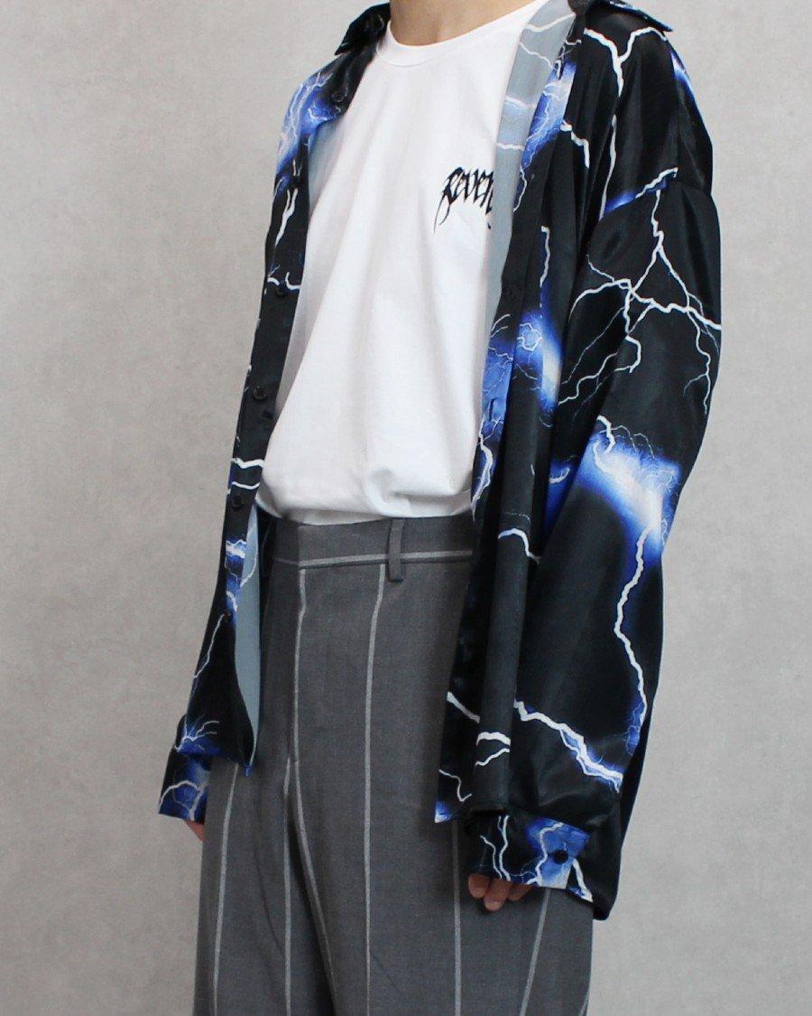JADED LONDON Blue Lightning Print L/S Shirt