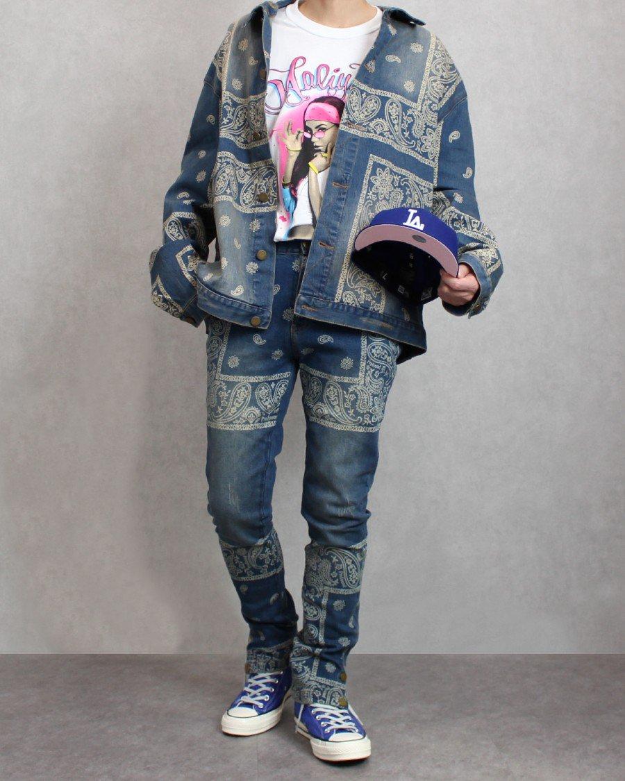 Profound Aesthetic Sand-Washed Denim Bandana Paisley Jacket