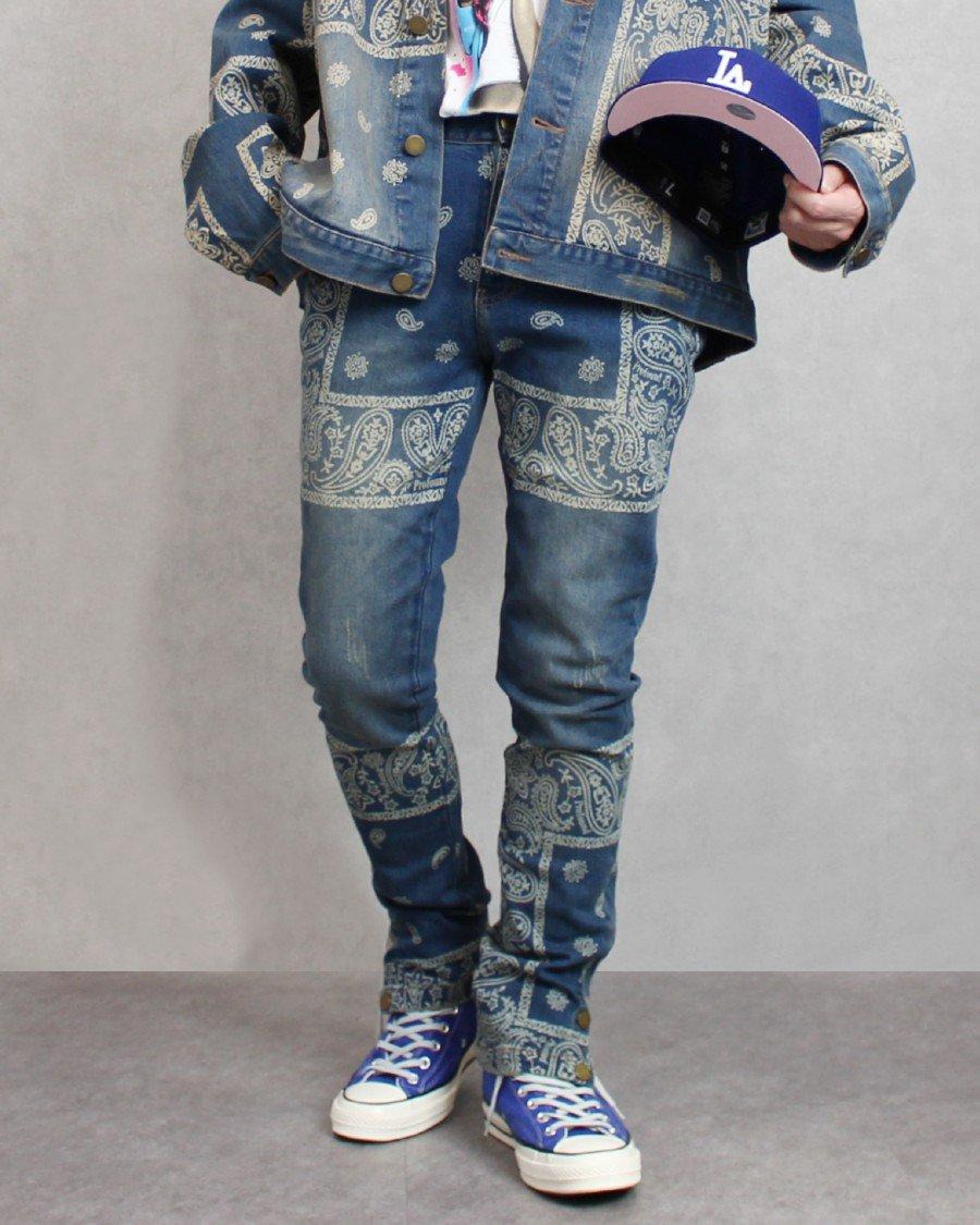 Profound Aesthetic Sand-Washed Denim Bandana Paisley Jeans