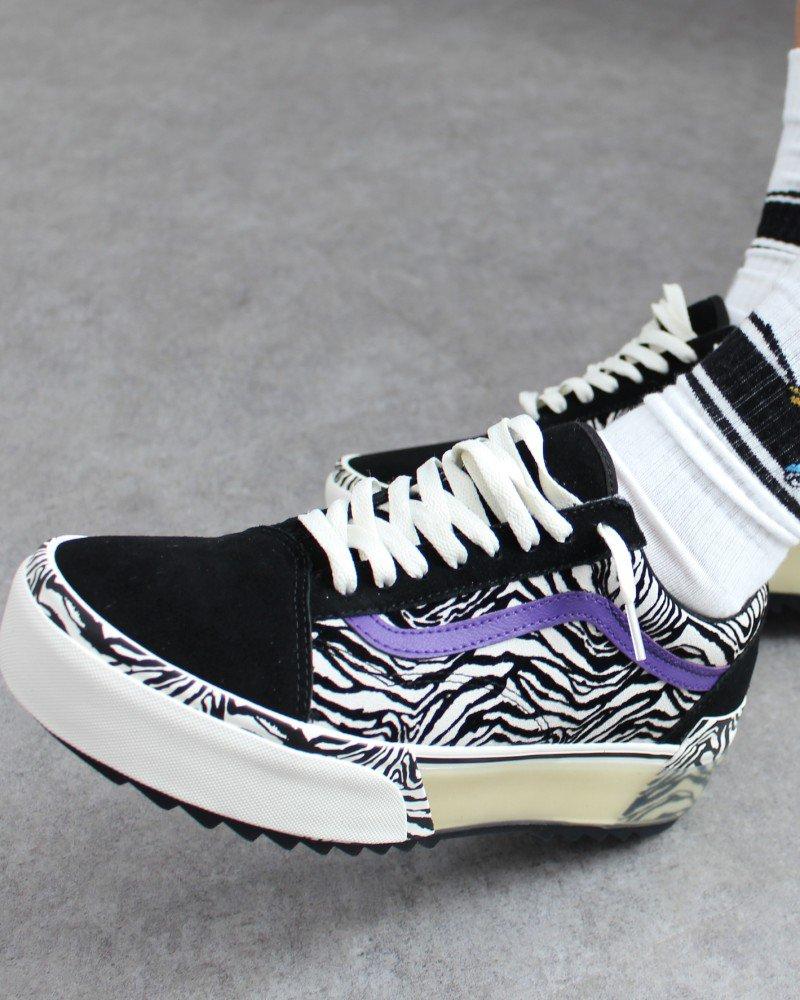 Vans Old Skool Stacked Suede - (Zebra) Black/Marshmallow