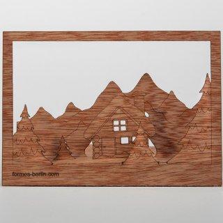 木製ポストカード(冬景色)