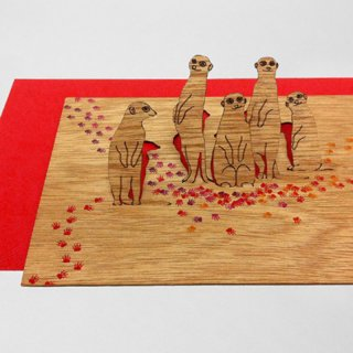 木製ポップアップカード(ミーアキャット)