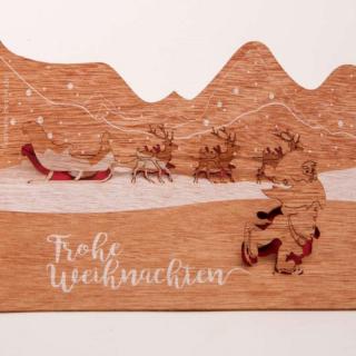 木製ポップアップカード(スケーティングサンタ)