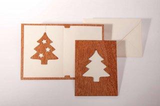 木製グリーティングカード(モミの木)