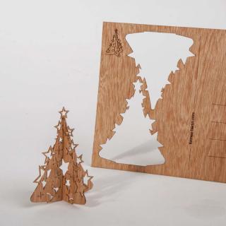 木製ポストカード(モミの木スター)
