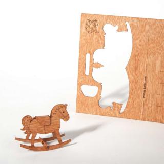 木製ポストカード(木馬)