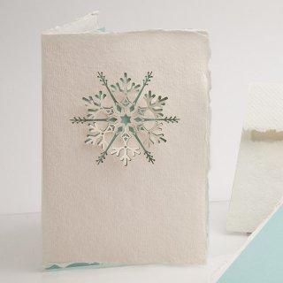 コットン製メッセージカード(雪の結晶)