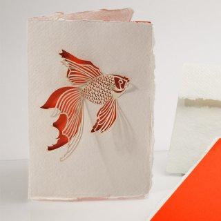 コットン製メッセージカード(金魚)