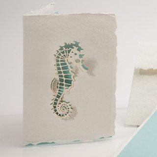 コットン製メッセージカード(タツノオトシゴ)