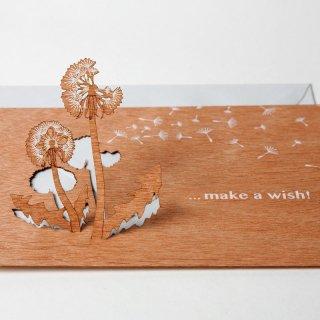 木製ポップアップカード(Make a wish !)