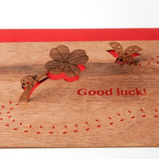 木製ポップアップカード(Good luck!)