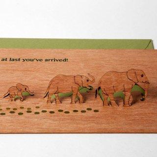 木製ポップアップカード(ゾウ)