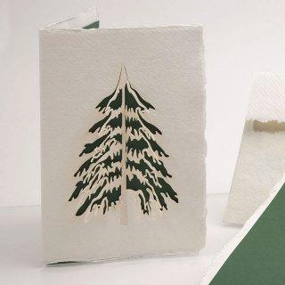 コットン製メッセージカード(モミの木)
