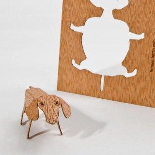 木製ポストカード(ダックスフント)