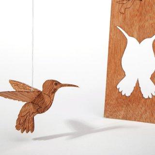 木製ポストカード(ハチドリ)