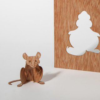 木製ポストカード(ネズミ)
