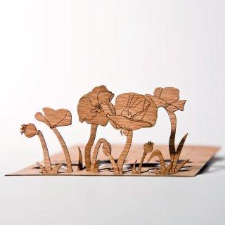 木製ポストカード(ヒナゲシ)