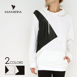【MANIERA】2017PU切り替えパーカー/全2色/マニエラ