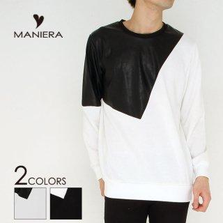 【MANIERA】PU切り替えトレーナー/全2色/マニエラ