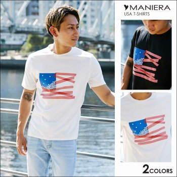 <img class='new_mark_img1' src='//img.shop-pro.jp/img/new/icons6.gif' style='border:none;display:inline;margin:0px;padding:0px;width:auto;' />MANIERA 【SALE20%OFF】USA Tシャツ / 全2色