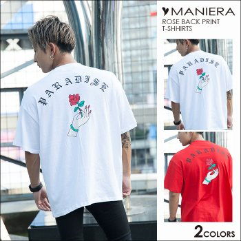 MANIERA SELECT★流行★バックローズプリントTシャツ / 全2色