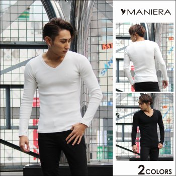 【MANIERA】ハート刺繍テレコロンT / 全2色