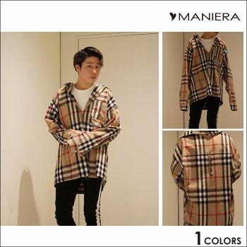 【MANIERA】チェックシャツ ストライプ ビッグサイズ
