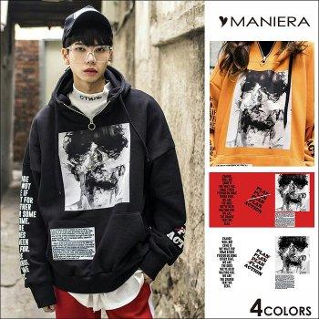 【MANIERA】ZIPフォトプルパーカー全4色 プルオーバー ブラック オレンジ ホワイト レッド