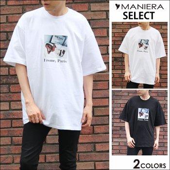 【MANIERA】PARISガールTシャツ Tシャツ ブラック 黒 白 ホワイト 夏 メンズ ファッション