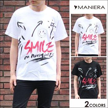 韓国ファッション★ ペイントスマイルTシャツ スマイル柄 メンズファッション カジュアル ストリート