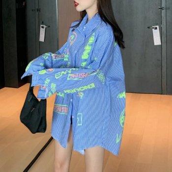 韓国ファッション ユニセックス  ストライプ×蛍光プリント オーバーサイズ シャツ