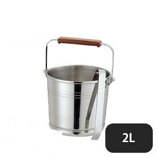 PE 18-8ローズ柄新型アイスペール(トング付) 2.0L (168008)