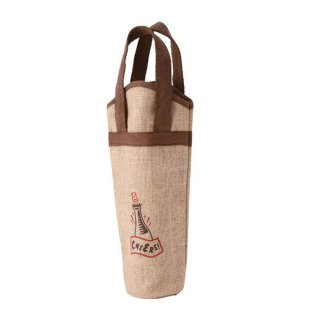麻ワインバッグ 1本用 ワンポイント 10枚入 (7125)