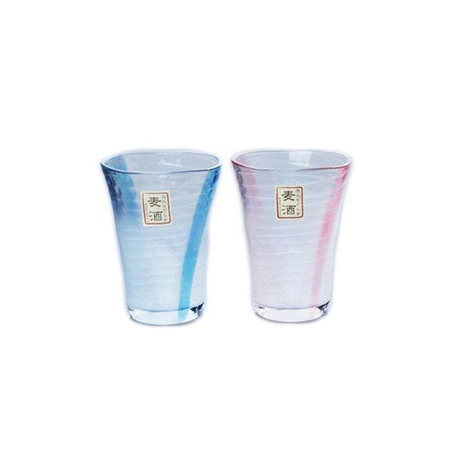 東洋佐々木ガラス 泡立ちぐらす山 ペアビヤーグラスセット (ブルー・ピンク) 木製ケース入 (G048-T260)