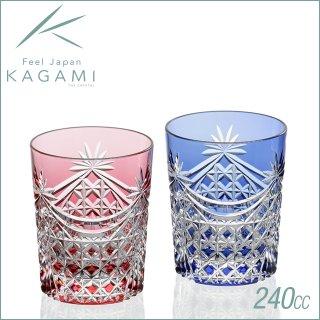 カガミクリスタル 江戸切子 ペアロックグラス<幕襞に四角籠目紋> (TPS370-2835-AB)