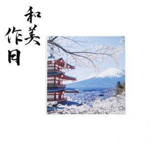 和美作日 Wabisabi 尺0.5寸角雅懐石盆 桜と富士山裏白塗 (i2-086-01)