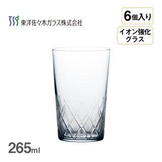 タンブラー 薄氷 矢来カット 265ml 6個入 東洋佐々木ガラス(B-21108CS-C745)