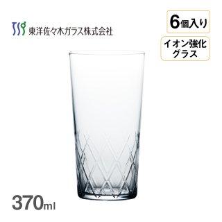 タンブラー 薄氷 矢来カット 370ml 6個入 東洋佐々木ガラス(B-21112CS-C745)