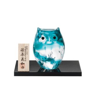 アデリア(石塚硝子) 津軽びいどろ 子ふくろう(グリーン) (F-62126)