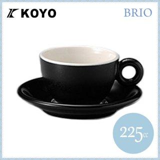コーヨー ブリオ カプチーノ カップ&ソーサー ブラック 6客セット 225ml (281551-6P)