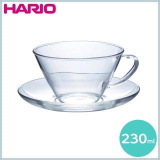 HARIO ハリオ 耐熱カップ&ソーサー ワイド 230ml (CSW-1T)