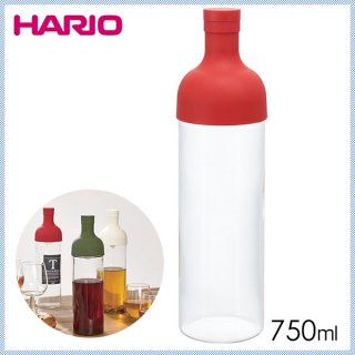 HARIO ハリオ Filter-in Bottle(フィルターインボトル) フィルターインボトル レッド 750ml (6個セット) (FIB-75-R)