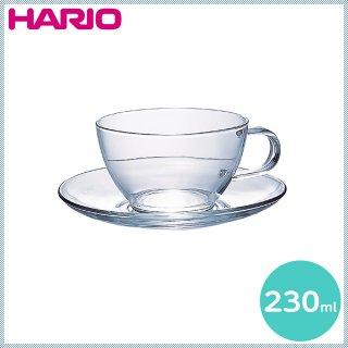 HARIO ハリオ 耐熱ティーカップ&ソーサー 230ml (TCSN-1T)