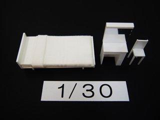 1/30 寝室家具(白)3点セット