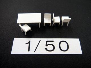 1/50 ダイニング家具(白)5点セット
