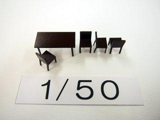 1/50 ダイニング家具(カラー)5点セット
