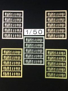1/50 【タント紙製】人型シルエット(5色セット) 250体