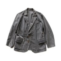 〜1940's BLACK CHAMBRAY FRENCH WORK JACKET (MEDIUM)